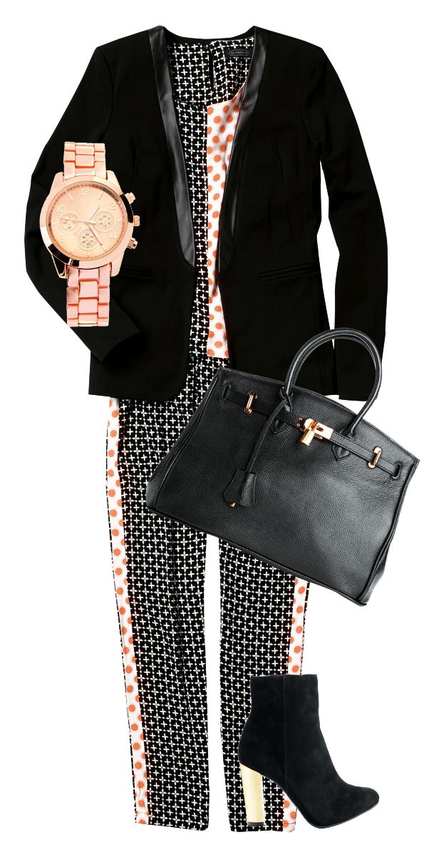 Faux leather collar blazer $139.99 from Portmans. Print top $49.99,  pant $49.99, both from Glassons. Lindall bag $320 from Mi Piaci. Rose gold watch $34.99 from Diva. Argent boot $79.95 from Hannahs.