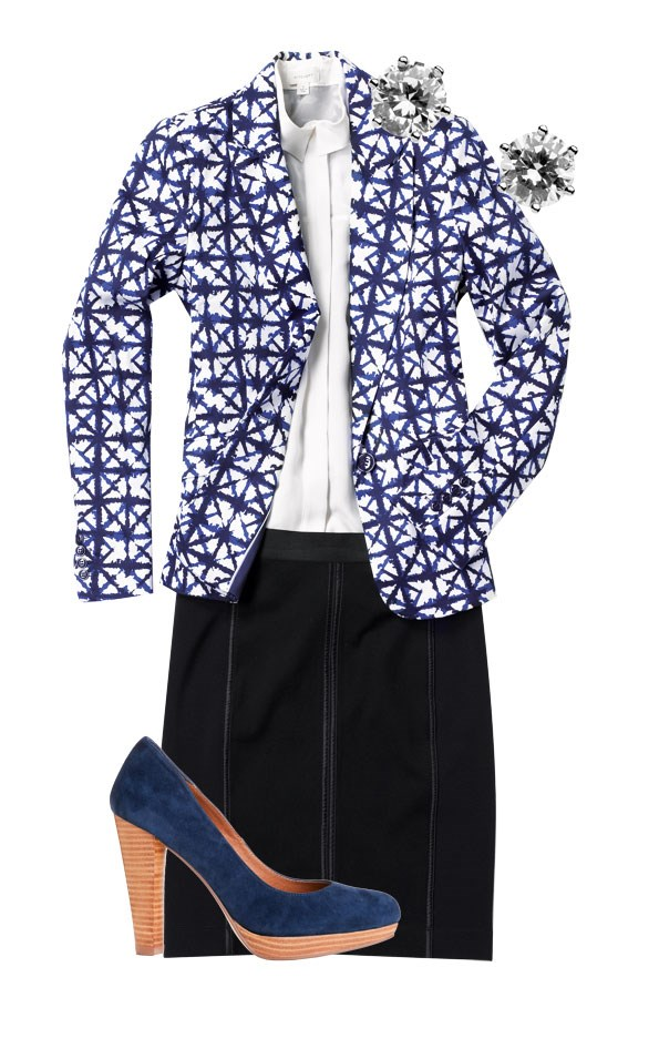 Print blazer $179.99, diamante stud earrings $14.99, both  from Jacqui-E. Sheer panel blouse $199.90 from Witchery. Panel skirt $199  from Loobie's Story. Breezy navy suede heels $199.90 from Overland.