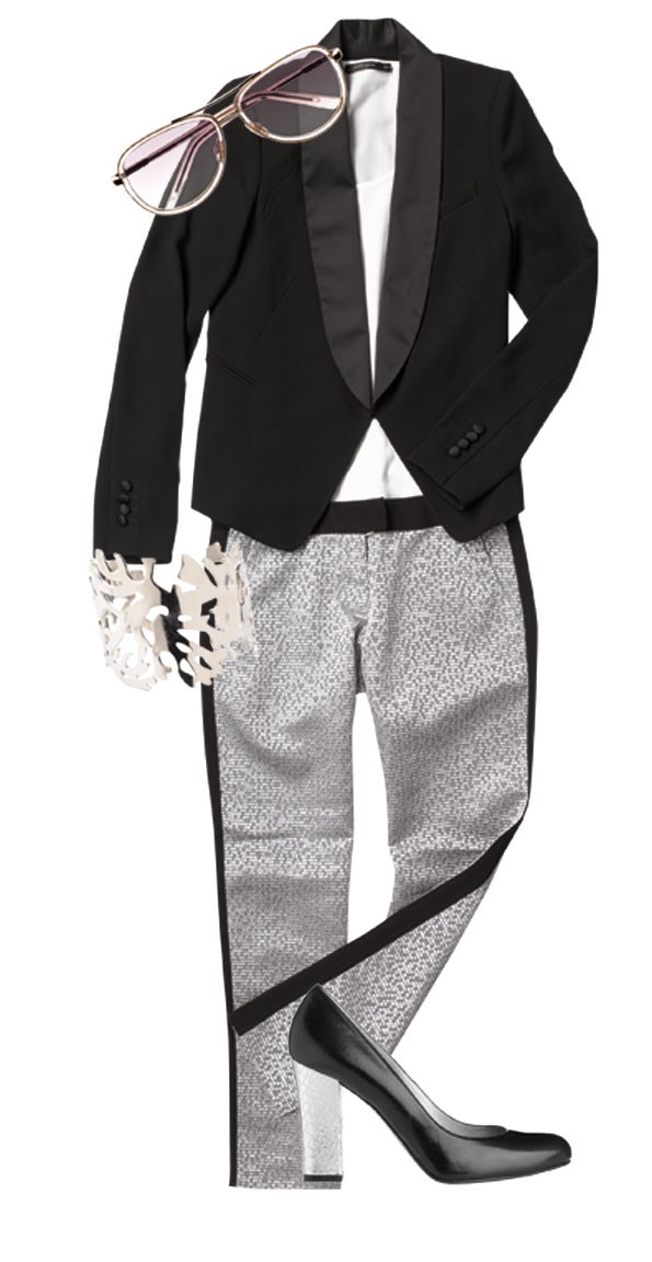 Tuxedo jacket $229.95, sunglasses $89.90, both from Witchery. Top $49.99  from Portmans. Textured pant $89.90 from Esprit. Silver cuff $16.99 from Glassons. Cambrai silver heel $280  from Mi Piaci.