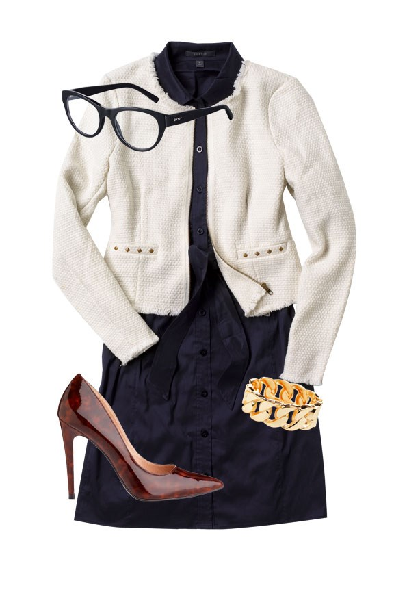 Navy dress $199 from Esprit. Boucle jacket  $29 from Kmart. Gold chain cuff $16.99 from Diva. DKNY optical frame $230  from OPSM. Alexa tortoiseshell heel $149.95  from Hannahs.