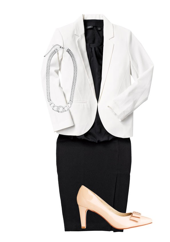 White blazer $59.99, pencil skirt $39.99, both from Glassons. Black pleat  front top $149 from Esprit. Chain necklace $34.99 from Portmans. Tilly large stud clutch $89.90 from Witchery. Peacock heel $220 from  Mi Piaci.