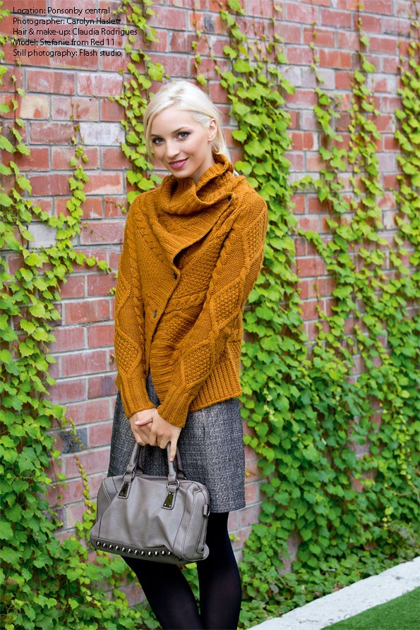 For a match made in heaven, team cable knits with textured tweed pants and skirts. Add stud detailed accessories for a more modern look. Cable-knit cardi $199 from Esprit. Metallic skirt  $79.99 from Portmans. Tights $11.49 from Farmers. Stud bag $59.99 from Equip.