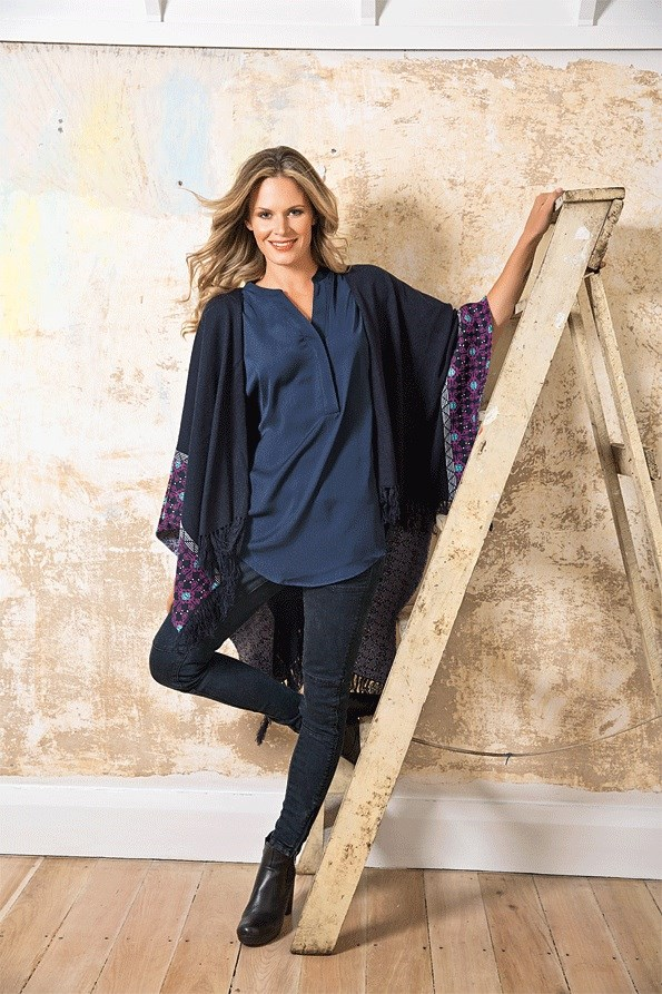 The classic slim fit has timeless appeal – pair with chunky knits and ankle boots for casual weekend wear, while a floating shrug makes a dramatic statement. FIND IT: Tassel shrug $49.99, Skinny biker jeans $89.99, both from JeansWest. Blouse $89.99 from Jacqui E. Marzipan boot $320 from Mi Piaci.