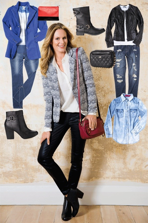 """Update your denim with waxed or metallic finishes, and team jeans with this season's """"it"""" print, Aztec. Perfect for a night on the town. FIND IT:  Aztec print jacket $99.99 from Just Jeans.  Blouse $89.90, Woven-look bag $74.90, BOTH from Esprit. Girl xpress coated jeans $25 from Kmart. Casablanca ankle boots $239.90 from Overland. Clutch $39.90 from Esprit. Genuine leather jacket $229 from Just Jeans. Linen t-shirt $39.99 from Just Jeans. Distressed jeans $59.99 from Glassons. Jet heart necklace $14.99 from Glassons. Monarchy buckle ankle boot $79.95 from Hannahs. Quilt and stud bag $29.99 from Glassons.  Central station jacket $350 from Ooby Ryn. Denim shirt $49.99 from Just Jeans. Panel jeans $69.99 from JeansWest. Alexa acid wash shirt $50 from boohoo. Biker buckle boot $29 from Kmart."""