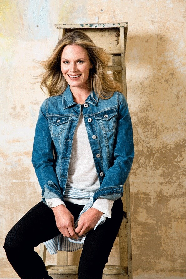 The denim jacket is making a strong comeback, but with a twist. Try a slim, short fit, never going below the hip line. Complement the jacket with a print shirt or coloured scarf. FIND IT: Denim jacket $89.99,  Stripe shirt $49.99,  BOTH from Just Jeans. Faux-leather trim top, $34.99, Charm necklace $14.99, BOTH from GLassons. Skinny jeans $89.90 from Esprit. Marzipan boot $320 from Mi piaci.