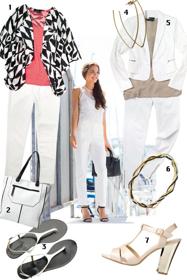 1 Carolyn oversize wrap $125 from Decjuba, Mesh tank $29.99, Jeans $49.99 ALL from Glassons. 2 Margo white with black trim tote $299 from Country Road. 3 T bar sandals $89.90 from country Road.  4 Brushed gold earrings $10.99 from diva. 5 Pleat detail jacket $149.99 from Portmans, Summer silk pocket tank $110 from Decjuba,  Sateen jeans $109.99 from Country Road. 6 3 tone mesh chain necklace $19.99 from diva. 7 Crescendo nude heels $99.95 from Hannahs.
