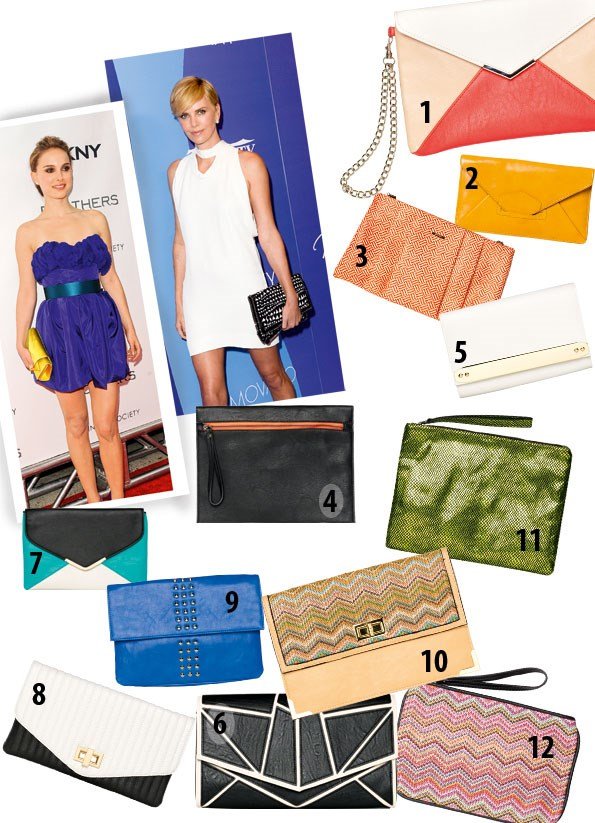 1 Tricolour clutch $24.99 from equip.  2 Tailynn clutch $130 from Mi Piaci. 3 Woven clutch $49.99 from Portmans. 4 Aura zip clutch $55 from Decjuba. 5 Lola clutch $39.90 from Colette.  6 Galactica clutch $49.90 from Colette.  7 Envelope clutch $29.99 from equip. 8 Quilted clutch $34.99 from Portmans. 9 Clarina stud clutch $119.90 from Overland. 10 Audrey clutch $29.90 from Colette. 11 Chrys metallic clutch $89.90 from Overland.  12 Alease clutch $40 from Decjuba.