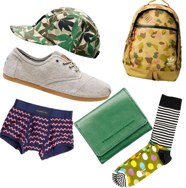1 Print cap $56.90 from WESC.  2 Camo backpack $90 from adidas. 3 Toms ordones lace-up $129.90 from Sitka.  4 Wallet $39.90 from WeSc. 5 Boxers $32.95 from Macpherson men.  6 Happy socks $24 from WeSc.