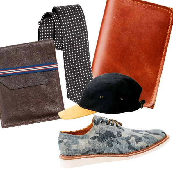 1 Leather ipad case $129.99 from Barkers. 2 Polka-dot tie $39.99 from Barkers. 3 Parisian wallet $59.99 from Barkers.  4 Panel cap $39.99 from Barkers. 5 Toms cordones lace-ups $129.90 from Sitka.