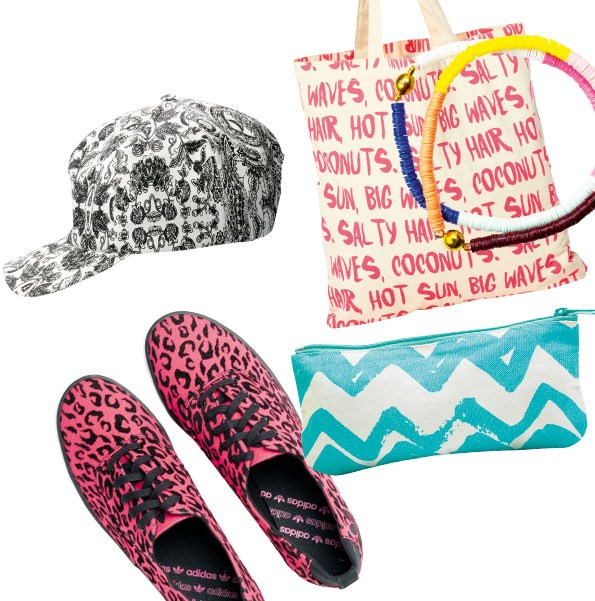 1 print cap $79.90 from  Now & Then. 2 Canvas  tote $19.99 from Glassons.  3 Stacker bracelets $29 each from Gorman. 4 Make-up bag $12.99 from Glassons.  5 Azurine sneakers  $140 from adidas.