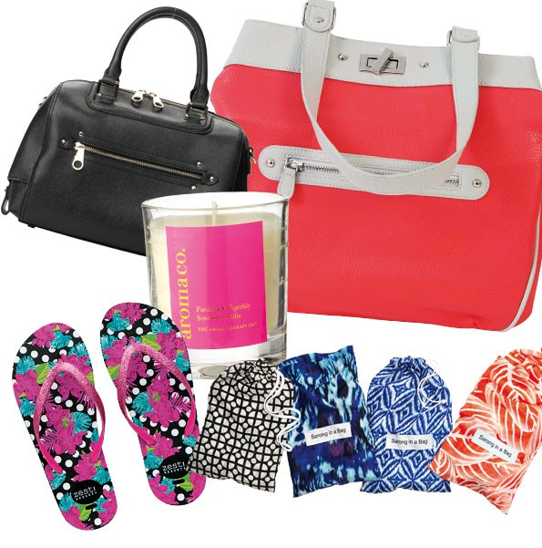 1 Claridge bag $290  from Mi Piaci. 2 Aroma Co  candle $19.99 from Portmans.  3 Tote $69.99 from Farmers.  4 Sarong in a bag $29.99 from Farmers. 5 Resort sandals $19.99 from Farmers.