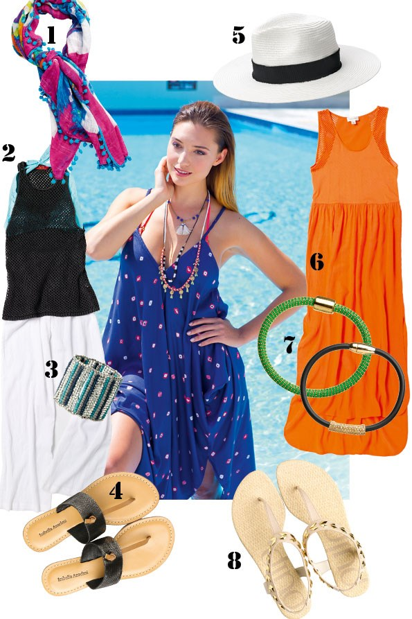 ABOVE quilted bikini $129.95, Archa dress $149.95 both from tigerlily.  Tassel necklace $22.99 from diva. 1 Tassel scarf $29.99 from JeansWest. 2 Aqua bikini top $16.99 from Glassons.  Mesh tank $69.95 from tigerlily. 3 Turquoise cuff $24.99, Beach pant $39.99  both from EziBuy. 4 Dash leather sandal $89.90 from Overland. 5 hat $79.90  from Witchery. 6 dress $169.90 from Witchery. 7 Green bracelet $60, Grey and Black bracelet $60, both from sarah grey. 8 Kore nude and gold sandals  $59.95 from Hannahs.