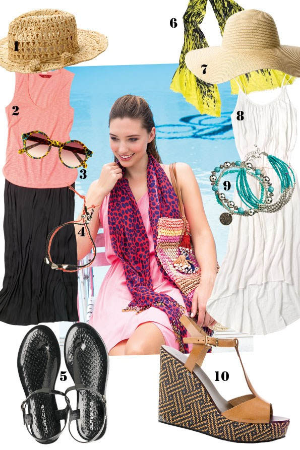 ABOVE dress $169.90 from Witchery. sarong scarf $29.99 from EziBuy.  Woven bag $34.99 from JeansWest. Tassels $29.95 from tigerlily.  1 Woven hat $69.95 from tigerlily. 2 tank top $69.95 from tigerlily.  Maxiskirt $169 from STORM. 3 sunglasses $19.99 from Just Jeans.  4 rope bracelet set $12.99 from Glassons. 5 Jelly sandals $16.99  from Glassons. 6 Yellow animal print scarf $19.99 from Glassons.  7 wide-brim hat $19.99 from Glassons. 8 belted maxidress $129.90  from Witchery. 9 Turquoise bracelet set $14.99 from Glassons.  Bead Bracelet $19.99 from Ezibuy. 10 Anjelica wedge $260 from Mi Piaci.