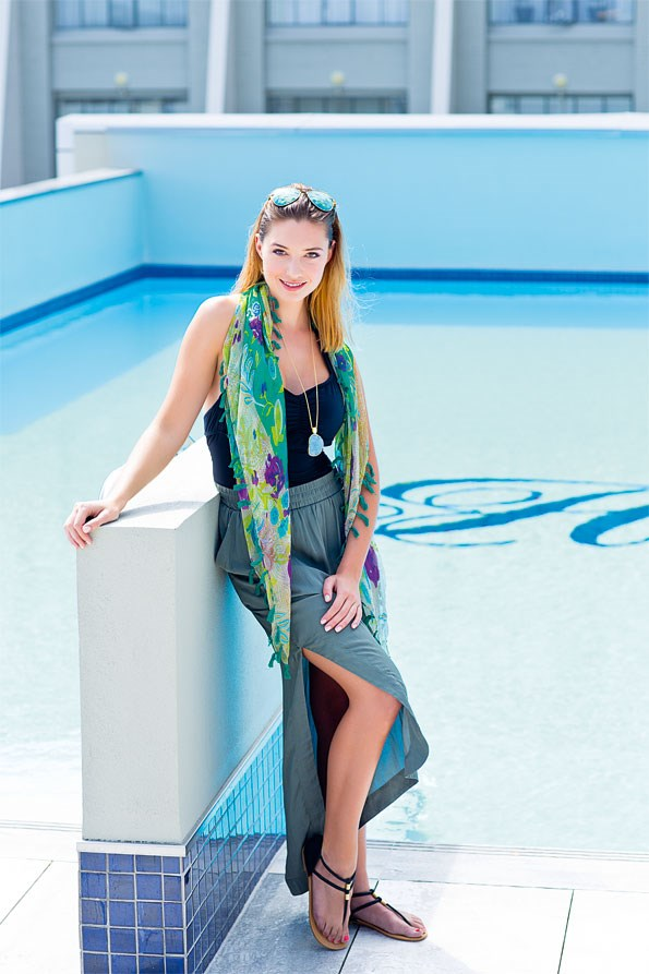 Elegant and essential,  a large cotton scarf offers style and sun protection all in one!  Tassel scarf $24.99 from EziBuy. Swimsuit $199.95 from tigerlily. skirt $119.90 from Witchery. Rantt sandals $79.99 from Hannahs. pendant necklace $99 from Sarah Grey.  Aviator sunglasses $29.99 from Just Jeans.