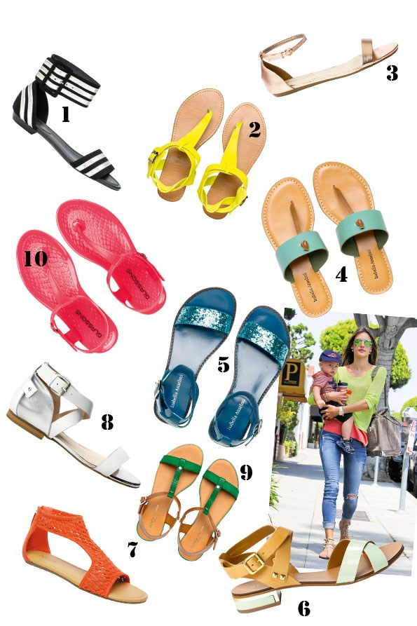 1 Keagan sandal $210 from Mi Piaci. 2 lexi sandal  $98 from Decjuba. 3 Metallic sandal $49.99 from Portmans. 4 dash sandal $89.90 from Overland.  5 Carney glitter sandal $149.90 from Overland.  6 Miracle sandal $220 from Mi Piaci. 7 La Boca sandals $39.99 from Number one shoes. 8 Lox sandals $210  from Mi Piaci. 9 Cameo sandal $169.90 from Overland.  10 Jelly sandals $16.99 from Glassons.