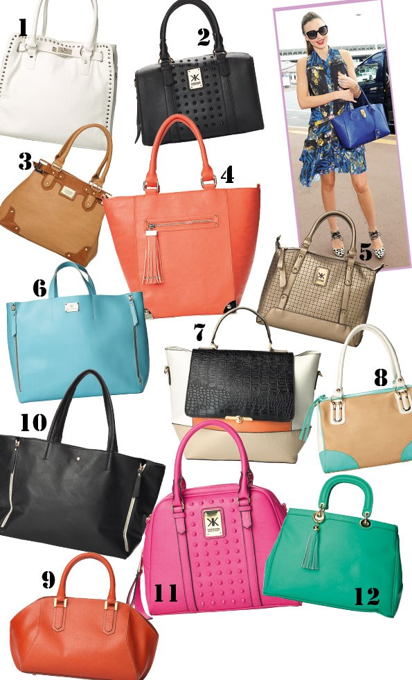 1 Stud bag $59.99 from equip. 2 bag $139.99 from equip. 3 Portobello bag $59.90 from Colette. 4 Antigua  bag $79.90 from Colette. 5 Metallic bag $149.90  from equip. 6 Camoilla bag $350 from Mi Piaci.  7 Multicoloured bag $69.90 from Portmans.  8 Sicily bag $69.90 from Colette. 9 Violetto bag $360 from Mi Piaci. 10 Zip bag $39.99 from Glassons.  11 Pink bag $119.99 from equip. 12 Flay tassel bag $280 from Mi Piaci.