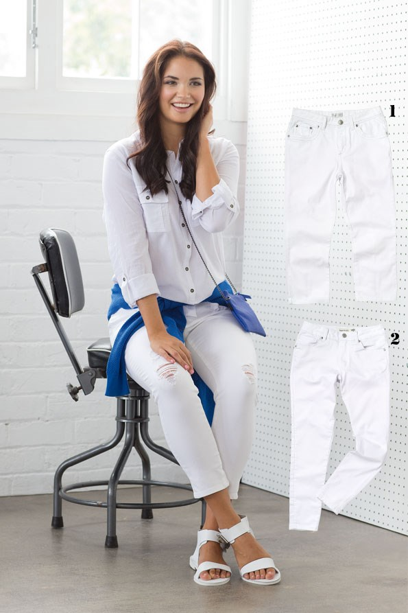 Capri white jeans $79.99  from Ezibuy. 2 Classic white jeans $69.99 from Just Jeans. - Shirt $49.99 from Just Jeans. Skinny capris  $89.99 from JeansWest. Mesh sweater $39.99 from Glassons. Suzie zip bag $40 from Decjuba. Geisha sandal $210 from Mi Piaci. Find a style that flatters your figure. Hourglass or curvy figures should avoid super skinny, opting for boyfriend or classic cuts. Add bold pops of colour with an eye-catching bag or lightweight knits.