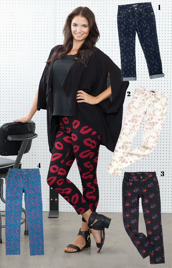 Veronica singlet $70, Carolyn oversize wrap  $125 both from Decjuba. Lip print Jeans $179.90 from Lee. two buckle sandal $99.95  from Hannahs. - 1 Ditsy flower print Jeans $89 from Max. 2 Floral print jeans $59.99 from Ezibuy. 3 Circle print jeans $129.90 from Levis.  4 Floral print jeans $129.90 from levis.