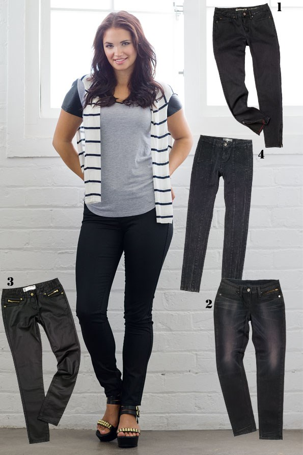 Hvar t-shirt $70  from Decjuba. Stripe  long-sleeve top  $29.99 from Glassons. Riders waxed jeans $99.99 from just Jeans.  Mia platform sandal $240 from Mi Piaci. Taking you from day to night, slimming black jeans will always be a hot favourite. Details,  such as a waxed finish  or chunky zips, give them a new edge. - 1 Zip bottom jeans $89.99 from JeansWest.  2 Zip pocket straight jeans $109.90 from Levis. 3 Waxed jeans $69.99 from Portmans. 4 Tie-dye bicker pants $99 from Max.