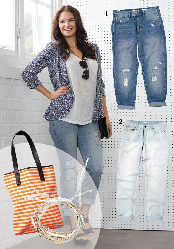 Linen t-shirt $24.99, blazer $59.99 both from Glassons. Gwen sunglasses $40,  boyfriend Jeans $165 both from Decjuba. Kate bag $49.90 from Colette. Cypress Webb black platforms $79.95 from Hannahs. 1 distressed-look jeans $59.99 from JeansWest.  2 Wrangler skinny boyfriend jeans $179.90  from Just Jeans. bag - tote $70 from Decjuba, bracelet - Bracelet set $24.99 from Portmans