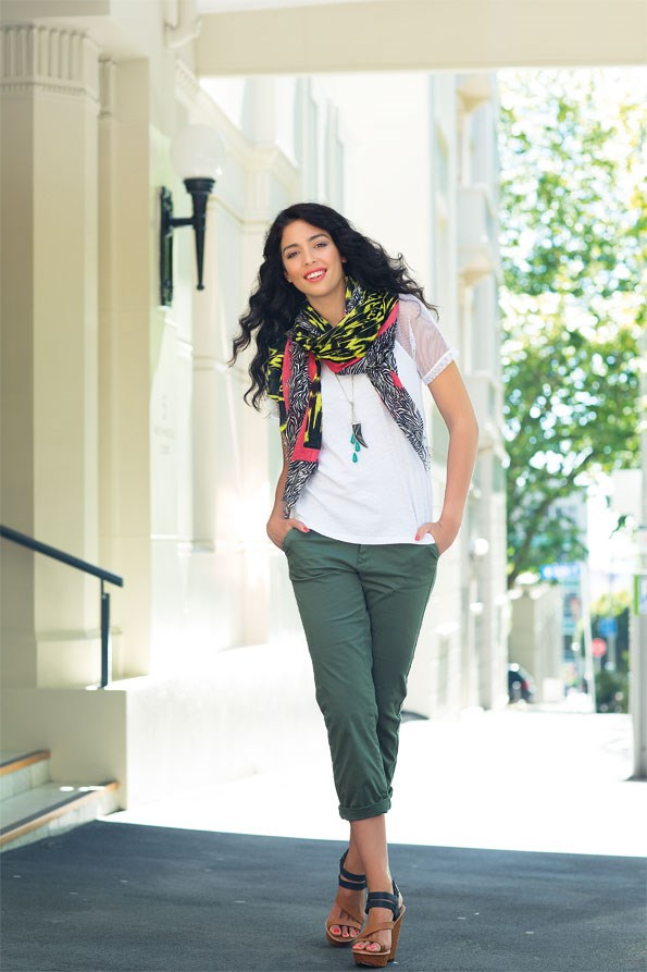 Yavapai scarf $39.95  from Decjuba. Mesh T-shirt  $29.99 from Glassons. Tooth necklace $19.99 from diva. Jamie chino pant $69 from Max.