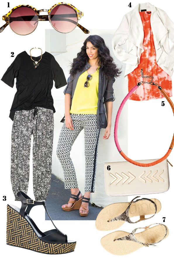 above Silky cami $110, Wyatt jacket $180,  Geo pant $165 all from Decjuba. wedge $149  from Max. Sunglasses $19.99 from equip.   1 sunglasses $21.99 from equip. 2 necklace $22.99 from diva, Luisa top $78 from Decjuba, print pant $79.99 from Portmans. 3 Anjelica Wedge $260 from  Mi Piaci. 4 Draped blazer $119.99, Punch dress $99.99 both from Portmans. 5 Gail necklace $40 from Decjuba. 6 Arrow clutch $39.90 from Colette.  7 Glam-R snake print sandal $49.95 from Hannahs.