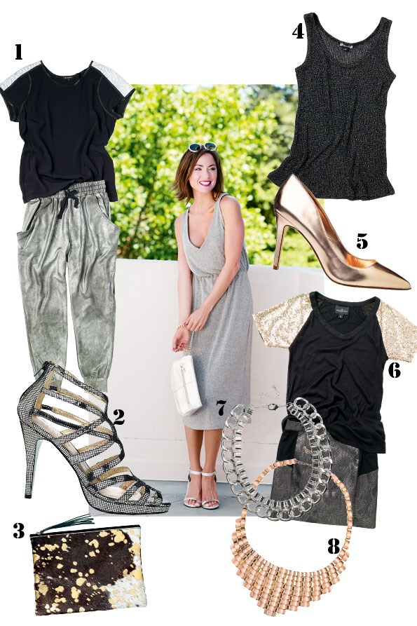 ABOVE Keira lurex dress $349 from TK Store. Sunglasses $39 from Max. Opera clutch $220 from Mi Piaci. Satin Arena heel $69.95 from Hannahs.  1 Metallic shoulder t-shirt $119 from STORM. Hero pant  $159 from Ketz-ke. 2 Ribbon heel $250 from Mi Piaci. 3 Jem hide with gold clutch $150 from Mooi. 4 Shadow metallic tank  $79 from Ketz-ke. 5 Lele rose gold heel $149.95 from Hannahs. 6 Sequin shoulder top $119.25 from Augustine International. Metallic gun-metal skirt $139 from STORM. 7 chunky silver chain necklace $29.99 from diva. 8 Ribbon woven necklace $22.99 from diva.