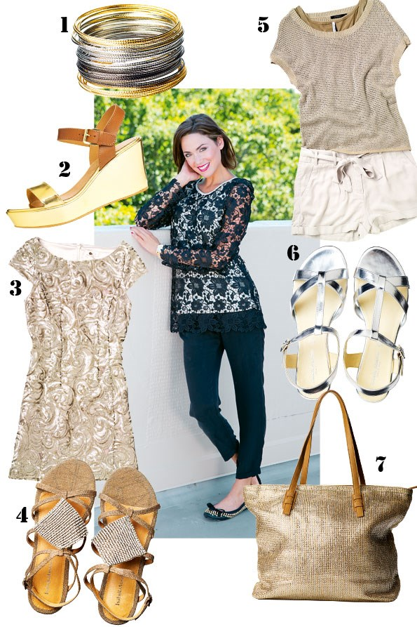 ABOVE Lace top $149.20 from Augustine International. Sultan silk pant $269 from TK Store. Gold watch  and bracelet set $29.99 from equip. Kaliber flats  $220 from Mi Piaci.  1 Bangle set $10.99 from diva. 2 Cascata wedge $189.90  from Overland. 3 Sequin dress $149.99 from Portmans.  4 Jasmine flats $109.90 from Overland. 5 Shimmer cami $39 from Max. Champagne knit top $69.99, shorts $79.99 both from Portmans. 6 Carolina flats $149.90 from Overland.  7 Metallic woven bag $59.99 from Portmans.