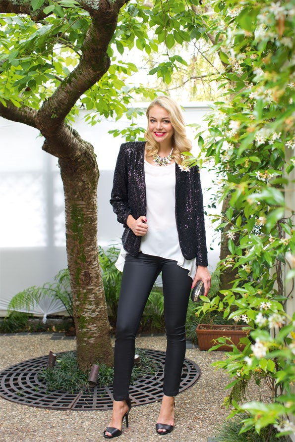 For a rock chic  edge, pair waxed jeans with a sequin blazer to show off your wild side. Tail back top  $69.99, Waxed  jeans $69.99 both from Portmans. Sequin jacket  $99.99 from dotti. Gina necklace $22, Lucy perspex oval clutch $32 both from boohoo.