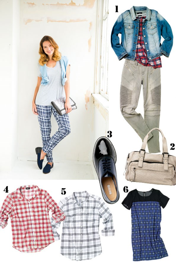 above t-shirt $29.99 from dotti. Chambray shirt $69.99 from Portmans. Print pant $129.90, Snake print clutch $169.90 both from Witchery.  times square Loafer $149.95 from Skin.  1 Check top $35.99, Denim jacket $79.99 both  from dotti. biker jeans $129.95 from Witchery.  2 Savana perforated bag $299 from Country Road. 3 Mc Dreamy loafers $159.95 from nude.  4 Red check shirt $49.99 from dotti. 5 Black  and White check shirt $109 from Country Road.  6 Shift dress $49.99 from Glassons.