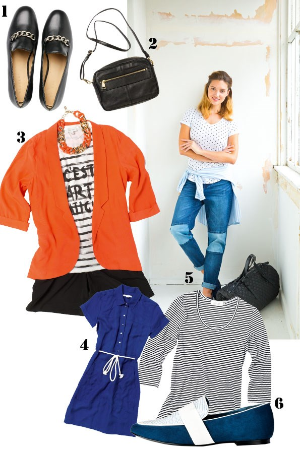 above right Polka dot t-shirt $49.99 from Portmans. Soft shirt $109 from Trenery. Contrast patch jeans  $149 from Country Road. Quilted bag $39.99 from Glassons. times square Loafer $149.95 from Skin.  1 Loafers with chain $169 from Trenery. 2 Delia zip-front bag $199.95 from Witchery. 3 Blood orange blazer $49.99 from Glassons. Holly chain necklace $16.90 from Colette. striped t-shirt $59.90 from Witchery. Silk short $109 from Trenery. 4 Stitch pocket coat dress $199 from Trenery. 5 Stripe top $19.99 from Glassons. 6 Cuddles white and navy loafers $149.95 from nude.