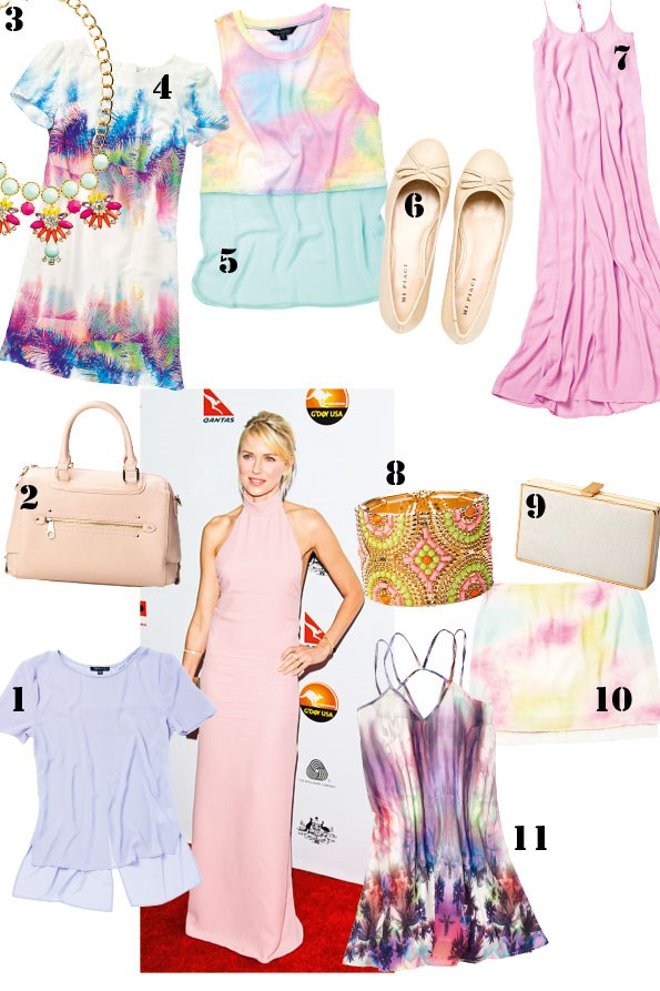 1 top $69.99 from Portmans.  2 Claridge bag $290 from  Mi Piaci. 3 Mindy necklace $22.90 from Colette. 4 Print dress $99.99 from Portmans.  5 Tulle trim tank $29.99 from Glassons. 6 Fancy ballet flats $220 from Mi Piaci. 7 Iris dress $59.99 from Glassons.  8 Mindy cuff $19.90 from Colette. 9 Eva evening clutch $54.90 from Colette.  10 Tulle trim skirt $49.99 from Glassons. 11 Strappy print dress $49.99 from Glassons.