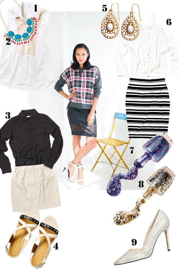 ABOVE Urban sweater $115 from Ketz-ke. Laser-cut leather-look skirt $129.90 from Witchery. Rose stud earrings $8.99  from diva. Bronwyn heels $169 from Country Road.  1 Bib-front shirt $109 from Trenery. 2 Mary bead necklace  $29.99 from diva. 3 Sheer long-line shirt $99.90, Angled leather-look skirt $129.90 both from Witchery. 4 Studded sandal $149  from Trenery. 5 Teardrop earrings $8.99 from diva. 6 Crepe shirt $139 from Trenery. Stripe pencil skirt $89.90 from Country Road.  7 OPI Blue Polka.com polish $22.90 from Farmers. 8 OPI Gold When monkeys fly polish $22.90 from Farmers. 9 Delilah Snake print heels $219.90 from Witchery.