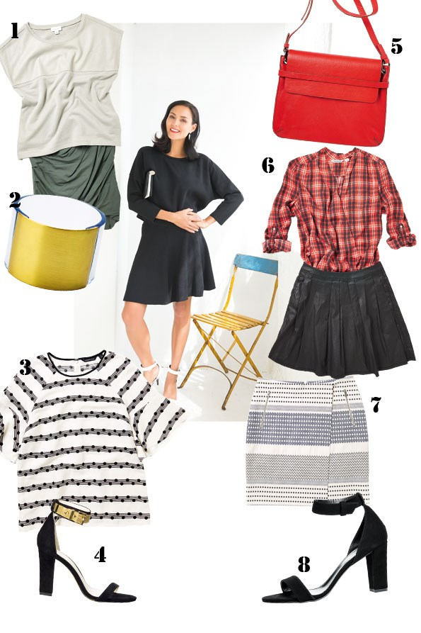 ABOVE Cropped knit $149, Knit skater skirt $169 both  from Country Road. Silver turquoise earrings $145 from Zabbana. Jorah clutch $59.90 from Witchery. Bronwyn heel $169 from Country Road.   1 Leather spliced top $169.90, Twist jersey skirt $99.90 both  from Witchery. 2 Perspex cuff $29.90 from Witchery. 3 Spot stripe blouse $169 from Country Road. 4 Darcy mesh and suede heels $249.90 from Witchery. 5 Illiana hip bag $199 from Trenery.  6 Check wrap shirt $109, Pleated wax skirt $109 both from Country Road. 7 Folk-print skirt $169 from Trenery.  8 Bronwyn suede heels $169 from Country Road.