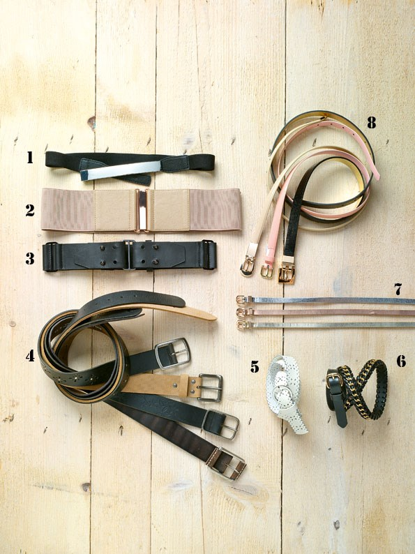 1 Silver panel buckle $19.99 from dotti.  2 Elasticated belt $24.99 from Portmans.  3 Stud belt $24.99 from Glassons. 4 Cut-out belt $45.99, Tan belt $39.99, Embossed belt $49.99 AND Casual belt $45.99 all from Just Jeans. 5 Cut-out belt $12.99 from dotti. 6 Chain belt $25.99 from dotti. 7 Set of metallic belts $24.99 from Portmans. 8 nude slim belt $24.99, snake-print belt $29.99 both from Portmans. pink belt $12.99 from dotti.