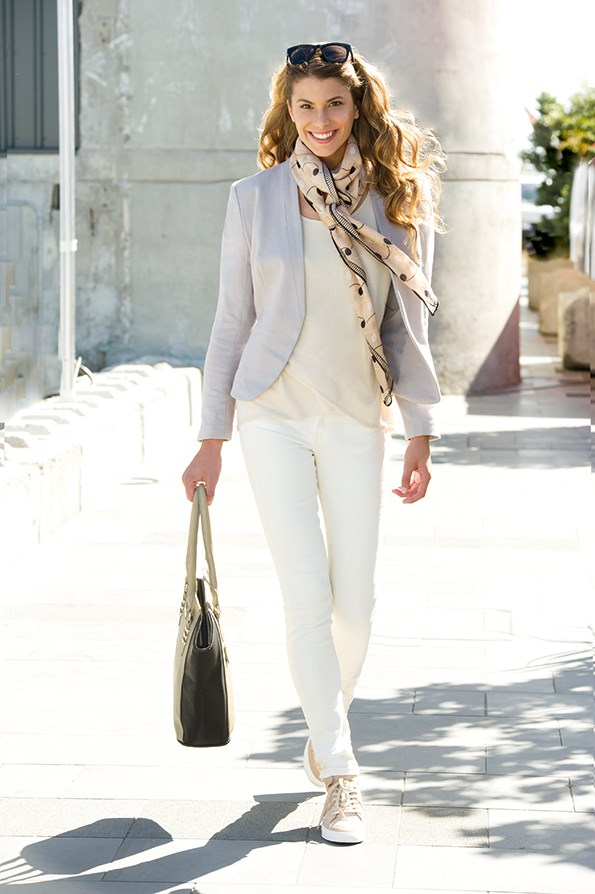 Blazer $89.99 from Jeanswest. Stella top $119.99 from  Farmers. Coma scarf $79.90 from Country Road. Jeans $39.99  from Cotton On. Sunglasses $25 from Decjuba. Fiorelli bag $99.99 from Number One Shoes. Shoes $149 from Country Road.