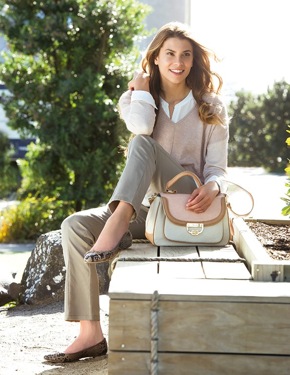 Jumper $79.99 from Portmans. Blouse $139.99, pants $99.99, Ooh La La bag $169.99 and snake ballet flats $129.95 all from Farmers.