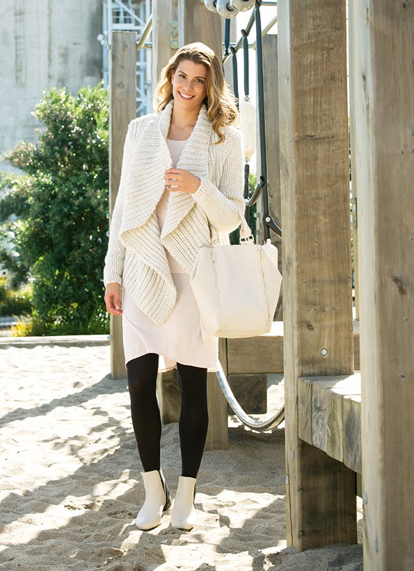Cardi $99.99 from Portmans. Building block long-sleeve top $79 and singlet dress $89 both from Kowtow. Tights $12.99 from Farmers. Bag $65.90 from Colette. Looker two-tone boots $189.95 from Nude.
