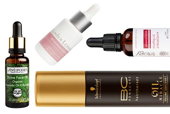 From left: Antipodes Divine Face Oil, $36. Linden Leaves Miraculous Facial Oil, $64.99. Schwarzkopf BC Oil Miracle Volume Amplifier 5, $34.90. Trilogy Rosehip Oil Antioxidant+, $35.90.