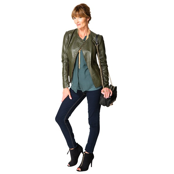 Try a colour biker jacket to brighten up a dark wardrobe.   Get The Look: Jacket $349 from Max. Shirt $99.99 from Ezibuy. Jeans $49.99 from Glassons. Bag $129.99 and necklace $34.99 both from Farmers. Shoes $69.99 from Portmans.