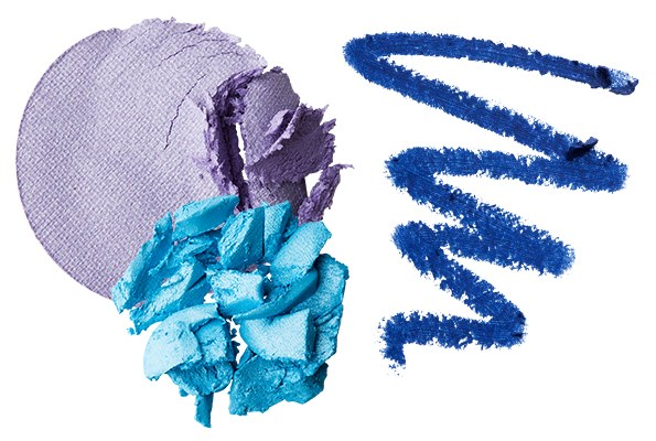 From the left: Almay Shadow Softies in Lilac and Sea Foam $12.95 each. Maybelline NY Master Kajal Eyeliner in Lapis Blue $19.99.