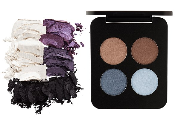 From left: Maybelline NY Expertwear Eyeshadow Quad in Amethyst Smokes $15.99. Youngblood Pressed Mineral Eyeshadow Quad in Glamour Eyes $96.50.