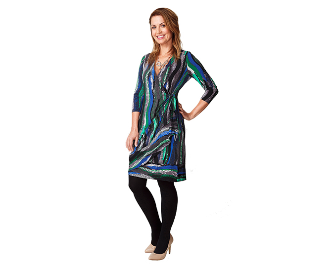 This stretch jersey wrap hugs the figure, but is still flattering. To smooth out lumps and bumps, wear a smoothing slip underneath. Get the look: Dress $119.99, necklace $29.99 and earrings $17.99 all from Jacqui-E. Coat $119.99 from Glassons. Shoes $25 from Kmart.