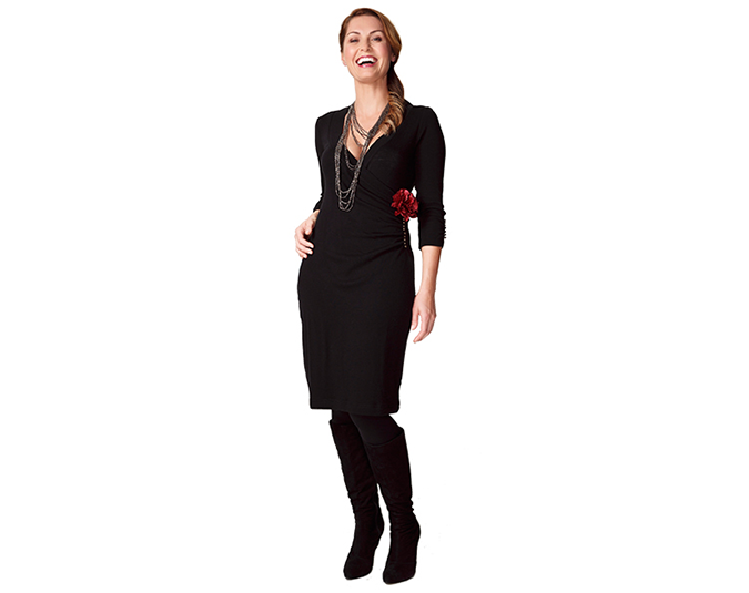 Every woman needs a black merino wrap dress in winter.  Warm and stylish, it can be worn loads of different ways. Get the look: Merino dress $139.99 from Ezibuy. Necklace $39 from Max. Rose clip $14.99 (pack of two) from Farmers. Boots $319.90 from Overland.