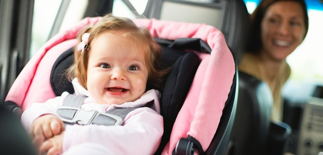 Baby car seat and seatbelt guide