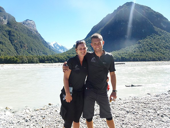Kate and Matt beside the Dart River at the end of the Paradise Trail. Photos: Justine Tyerman, Chris Tyerman, Laurence Belcher