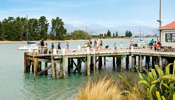 Mapua Wharf is situated close to Waimea Estuary, a short drive from Nelson.