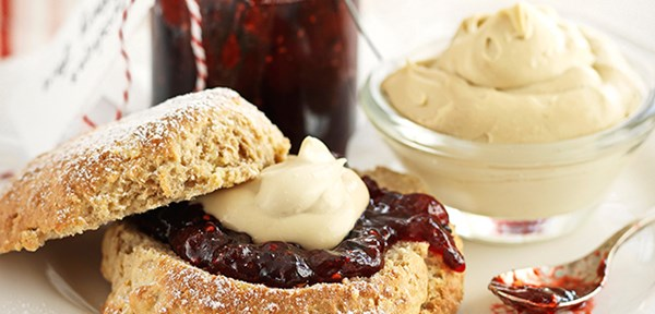 Brown sugar scones with jam and cream