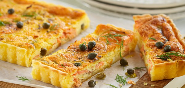 Smoked salmon & caper quiche