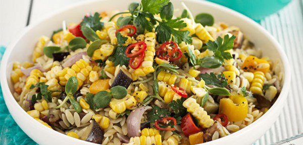 Orzo & eggplant salad with chilli & honey dressing